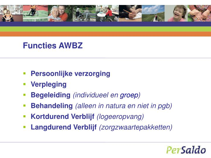 Functies AWBZ