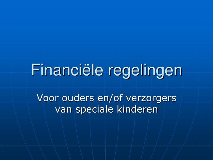 financi le regelingen