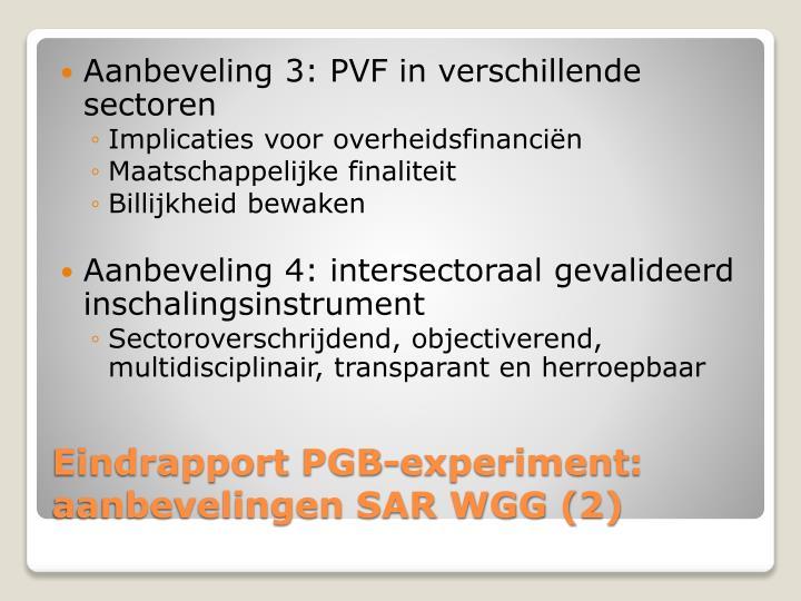 Aanbeveling 3: PVF in verschillende sectoren