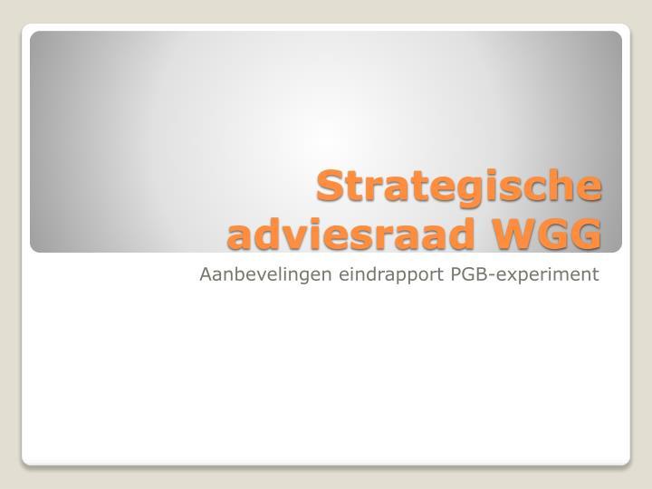 Strategische adviesraad WGG