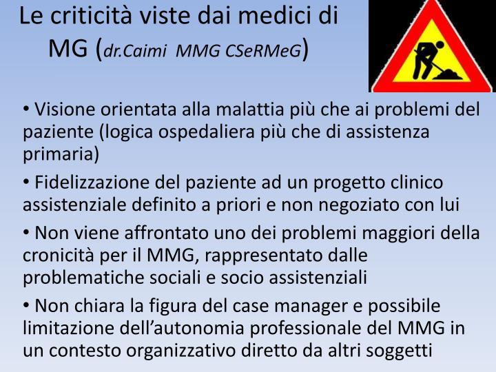 Le criticità viste dai medici di MG (