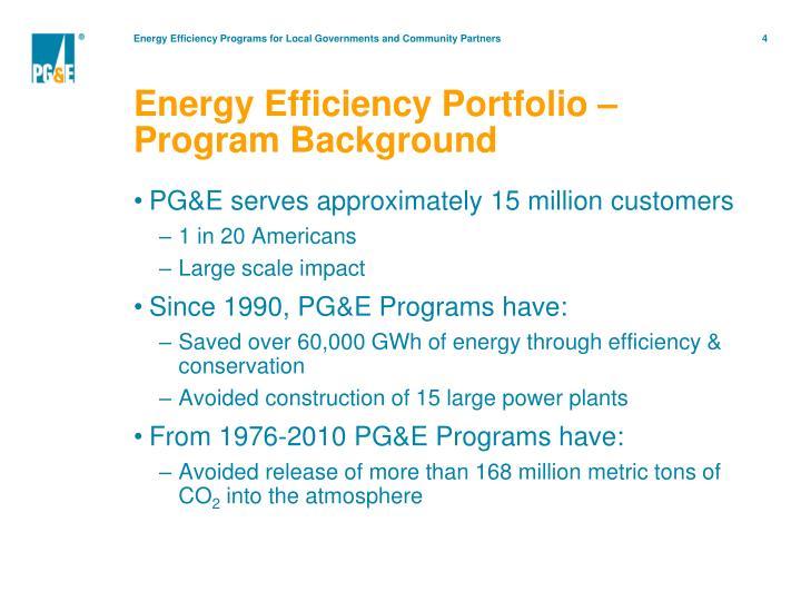 Energy Efficiency Portfolio –