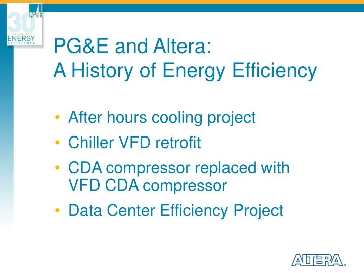 PG&E and Altera: