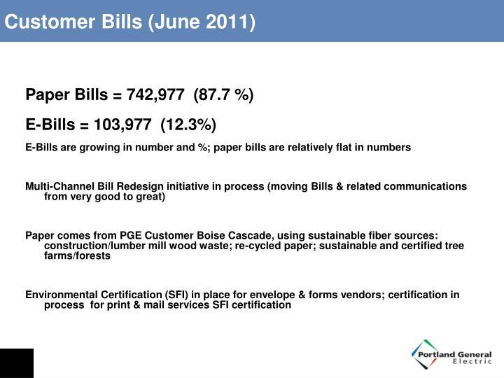 Customer Bills (June 2011)
