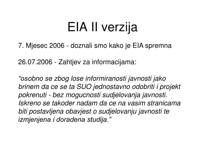 EIA II verzija