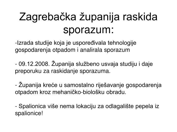 Zagrebačka županija raskida sporazum:
