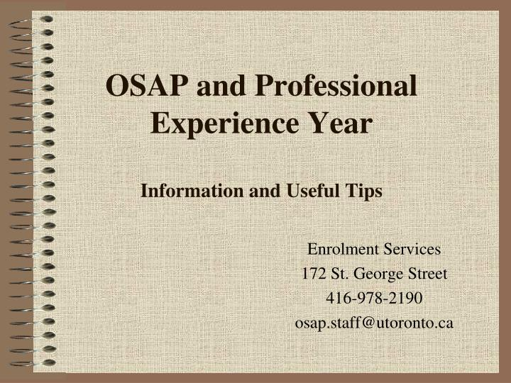 osap and professional experience year information and useful tips
