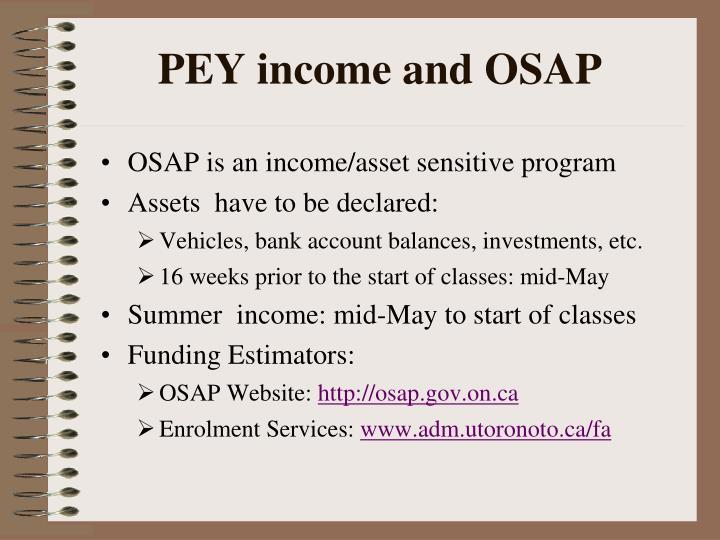 PEY income and OSAP
