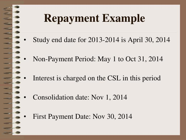 Repayment Example