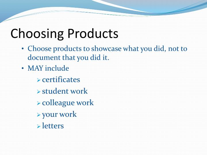 Choosing Products
