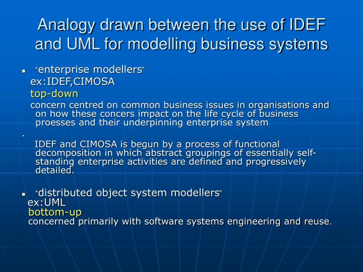 Analogy drawn between the use of IDEF and UML for modelling business systems
