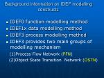 background information on idef modelling constructs