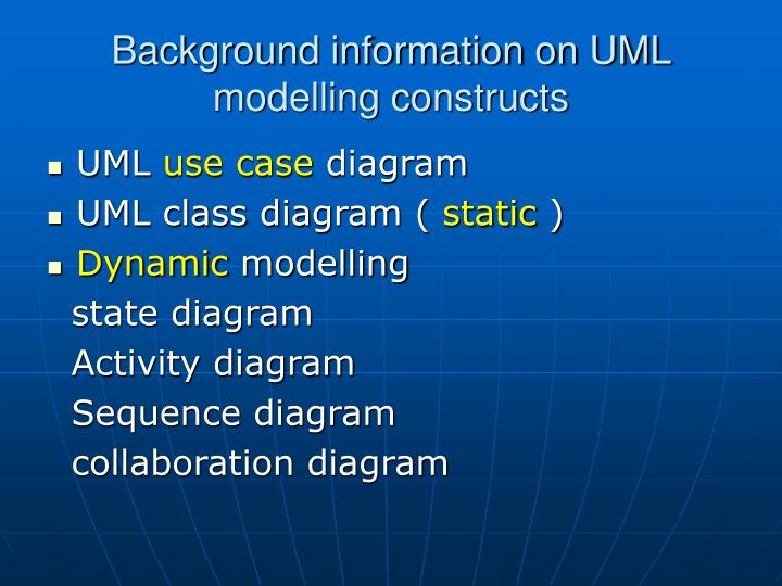 Background information on UML modelling constructs