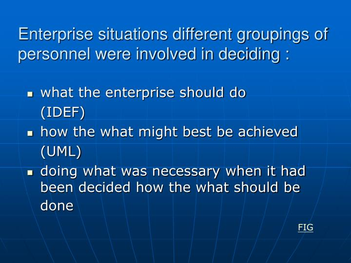 Enterprise situations different groupings of personnel were involved in deciding :