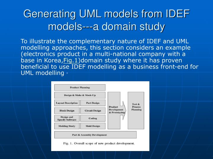 Generating UML models from IDEF models---a domain study