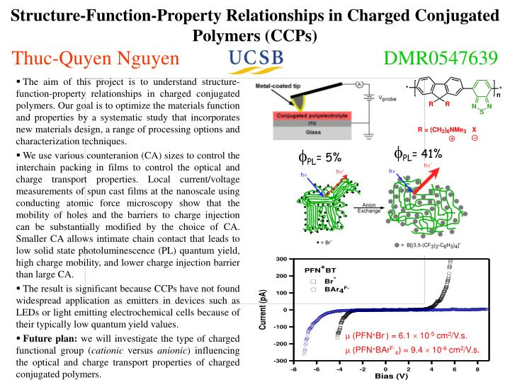Structure-Function-Property Relationships in Charged Conjugated Polymers (CCPs)