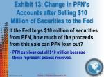 exhibit 13 change in pfn s accounts after selling 10 million of securities to the fed