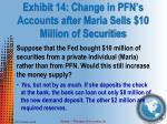 exhibit 14 change in pfn s accounts after maria sells 10 million of securities