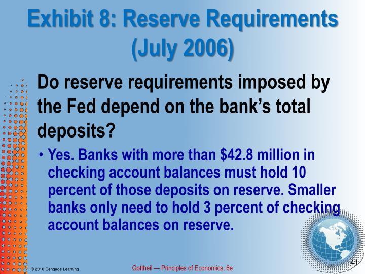 Exhibit 8: Reserve Requirements (July 2006)