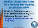 exhibit 9 change in the dallas fed s accounts after providing a 5 000 loan to pfn