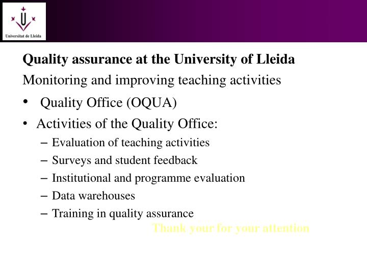 Quality assurance at the University of Lleida