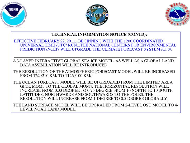 TECHNICAL INFORMATION NOTICE (CONTD):