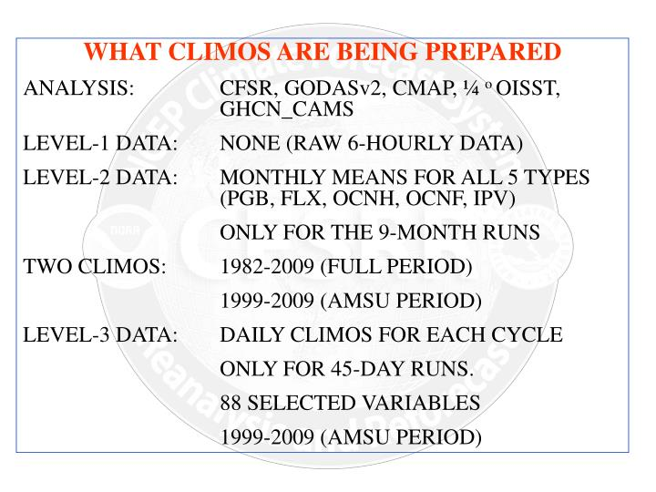 WHAT CLIMOS ARE BEING PREPARED