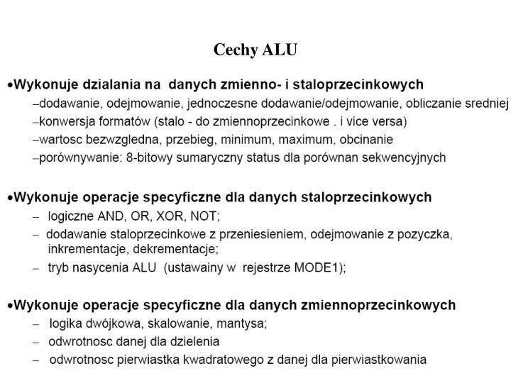 Cechy ALU