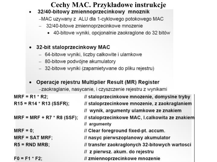 Cechy MAC. Przykładowe instrukcje