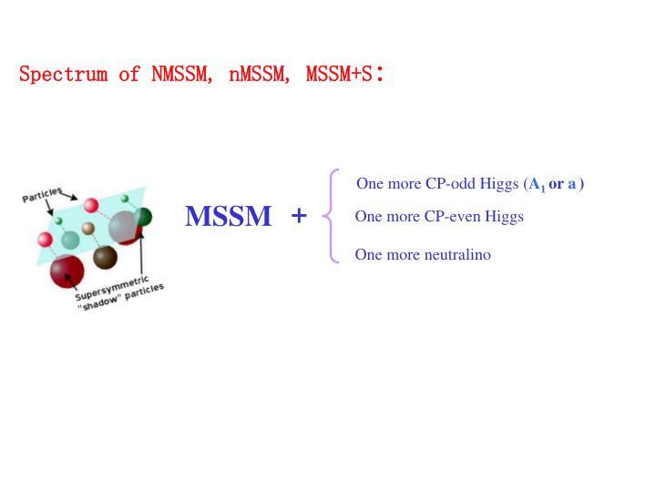 Spectrum of NMSSM, nMSSM, MSSM+S