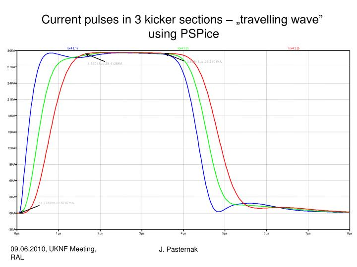 """Current pulses in 3 kicker sections – """"travelling wave"""""""