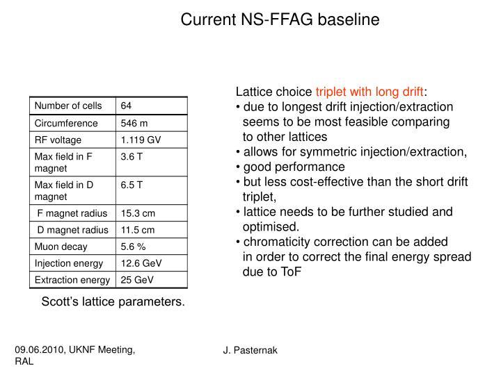 Current NS-FFAG baseline