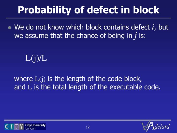 Probability of defect in block