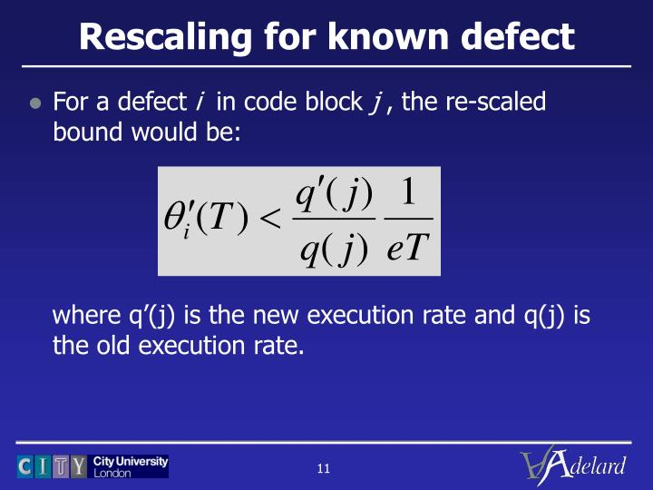 Rescaling for known defect