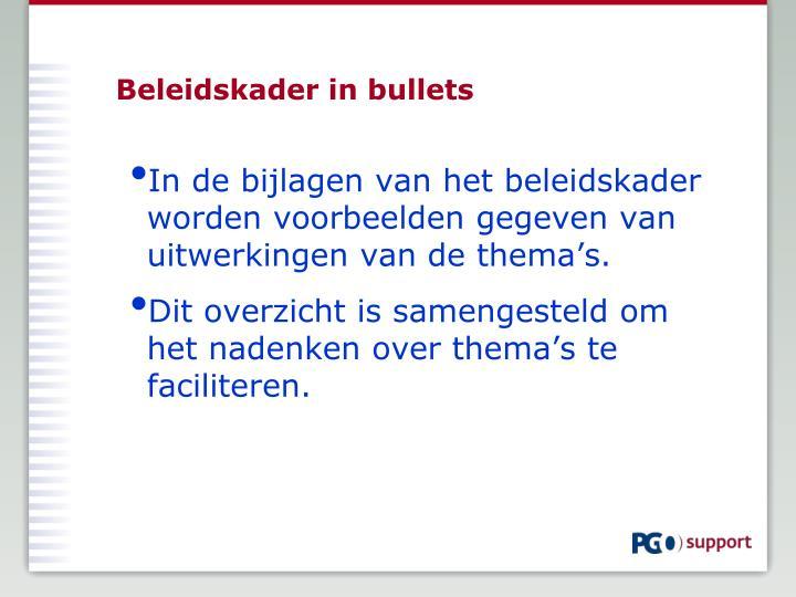 Beleidskader in bullets