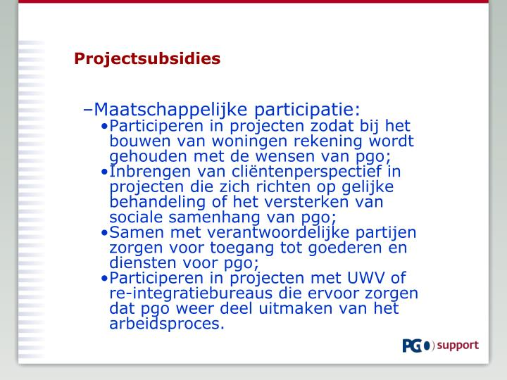 Projectsubsidies