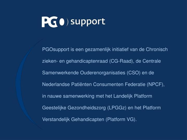 PGOsupport is een gezamenlijk initiatief van de Chronisch zieken- en gehandicaptenraad (