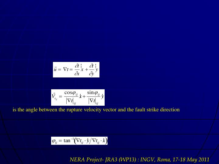 is the angle between the rupture velocity vector and the fault strike direction
