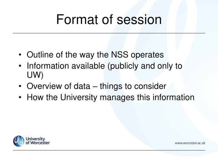 Format of session