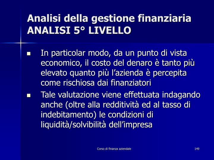 Analisi della gestione finanziaria