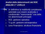 analisi delle determinanti del roe analisi 1 livello6