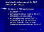 analisi delle determinanti del roe analisi 1 livello8