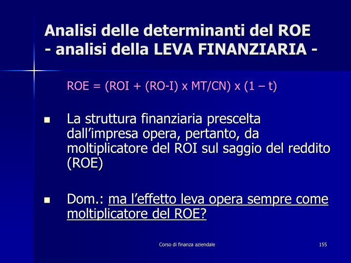 Analisi delle determinanti del ROE