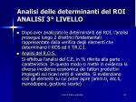 analisi delle determinanti del roi analisi 3 livello