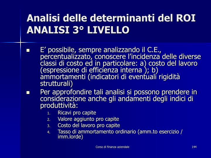 Analisi delle determinanti del ROI