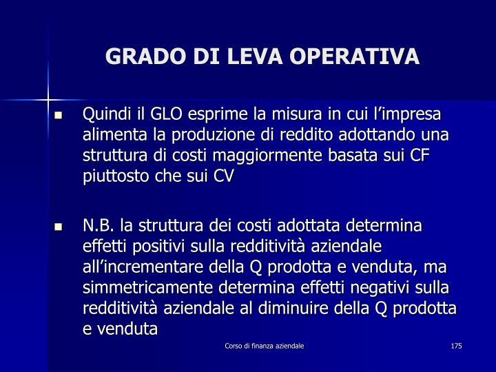 GRADO DI LEVA OPERATIVA