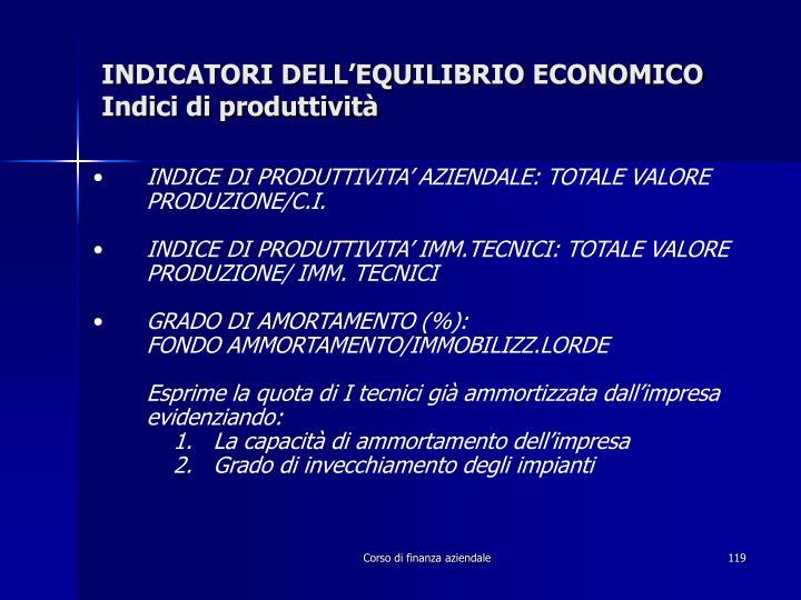 INDICATORI DELL'EQUILIBRIO ECONOMICO