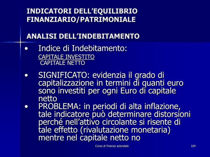 INDICATORI DELL'EQUILIBRIO