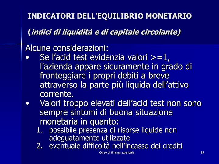 INDICATORI DELL'EQUILIBRIO MONETARIO