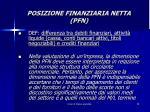 posizione finanziaria netta pfn